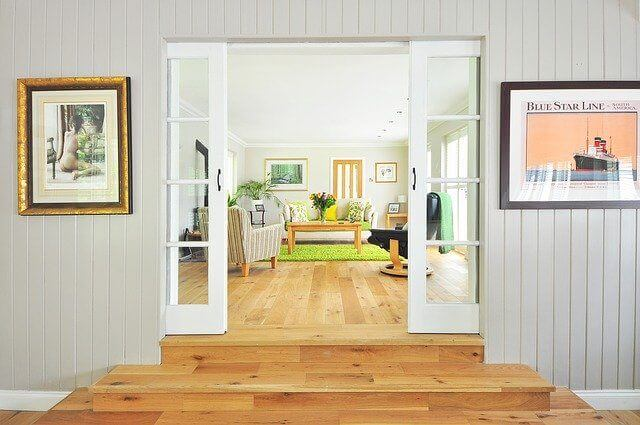 Picture of a home living room being appraised